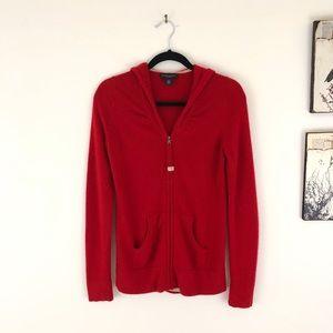 BANANA REPUBLIC Red 100% cashmere Full zip Hoodie